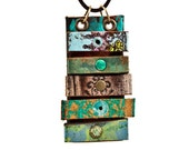 Long Statement Necklace Gypsy Boho Jewelry Metal Patina Unique Rare Limited