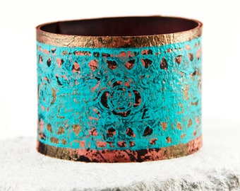 Coral & Turquoise Bracelet Leather Jewelry Gold Teal Red Cuffs