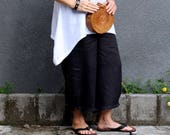LINEN, Culottes, Size 8-20, Resort Wear, , Island Style, Loose Fit, Wide Leg, Elasticised Waist, Dropped Crotch, Black
