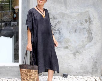LINEN,  Caftan, 2 Sizes, Midi, Black, White, Gray, Natural