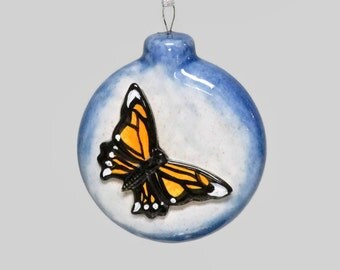 Ceramic Monarch Butterfly Disk Ornament