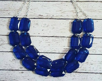 FREE EARRINGS, Sapphire Blue Transparent Chunky Statement Bib Necklace...Purchase 3 or more get 10% off