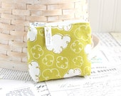 Small Cloudy Coin Purse Chartreuse Green Change Purse Card Holder Zipper Pouch