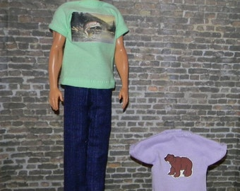 K3PC-23) Ken doll clothes, 2 printed T shirts with 1  pants