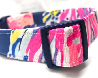 Lilly Pulitzer Fabric Dog Collar Navy Sunken Treasure Boy Girl