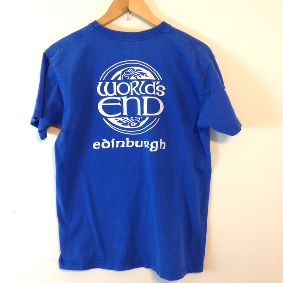 Vintage 80s WORLDS END T-Shirt Edinburgh Ireland Patch T-Shirt Bright Royal Blue Cotton Print Celtic Bird Circle Design Logo Tee Size S