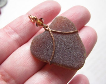Sea Glass Heart Amber Beach Glass Heart Shaped Seaglass Pendant in Copper Wire Wrap Natural Real Genuine Beach Find