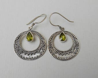 Sterling silver green Peridot gemstone dangle earrings / Silver 925 / Bali Jewelry / 1.75 inches long