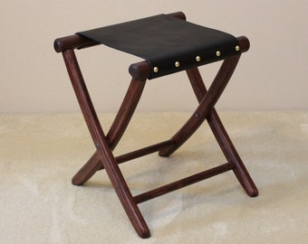 Civil War Folding Camp Stool - Leather Seat