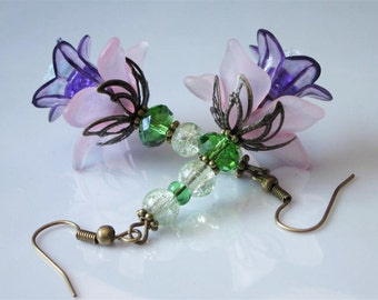 Beaded Flower Earrings, Pink Purple Lucite Flower, Faceted Crystal, Glass Floral Dangle, Beaded Lucite Flowers