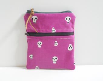 Little Skulls Zipper Pouch/Double Zipper Coin Purse/Small Wallet/Purple Zipper Bag/Double Zip Wallet/Change Purse/Card Wallet