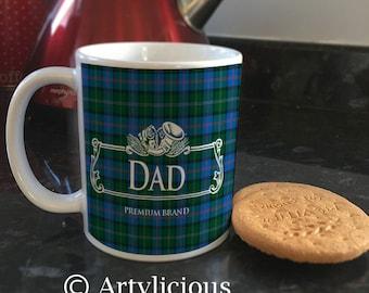 Dad blue tartan scottish Coffee cup Tea mug