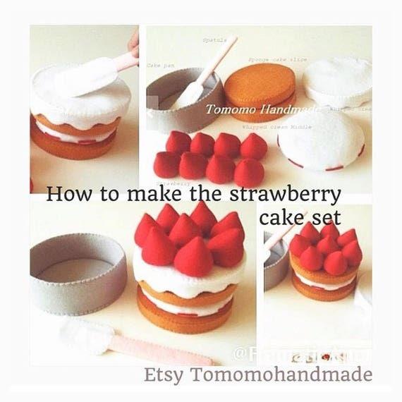 Etsy Pretend felt food - Play food ,   How to make  the Strawberry cake set.