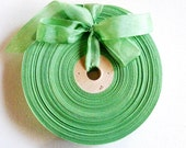 Vintage French 1930's-40's Woven Ribbon -Milliners Stock- 5/8 inch Leafy Green