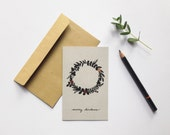 Wreath illustrated christmas card blank inside with metallic copper foil details holiday greetings eco-friendly risograph recycled card