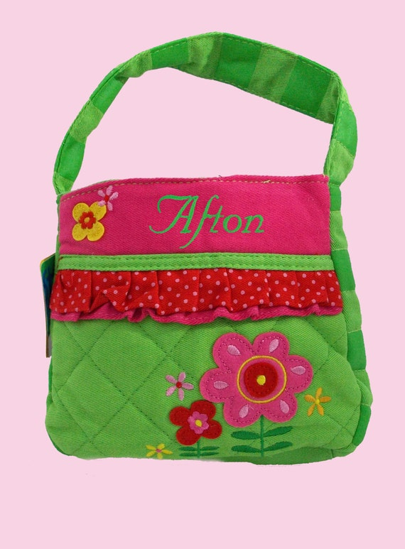 Stephen Joseph Peronalized Quilted FLOWERS Themed Purse-Monogramming Included In Price