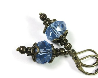 Victorian Style Czech Glass Earrings, Light Sapphire Blue Dangle Earrings, Sparkling Earrings, Gift Ideas for Her, Formal Wear, Affordable