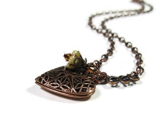 Victorian Style Heart Locket Necklace, Antique Copper, Celtic Knot, Swarovski Crystal, Romantic Jewelry Style, Gift for Her, Mother's Day