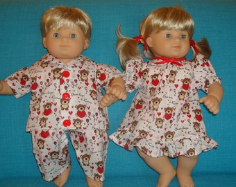 """15 Inch Doll Clothes/Teddy Bear Hugs/Gown and Pajamas/3 piece set made to fit 15"""" Bitty Baby Twin Dolls/READY TO SHIP"""