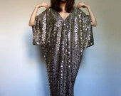 Gold Metallic Dress Holiday Party Dress Women Draped Oversized Kaftan Caftan Draped Cocktail Dress - Medium to Extra Large M L XL