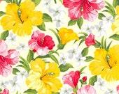 "SALE Yellow Tropical Cotton Poplin, Gertie by Gretchen Hirsch Fabric, 43"" wide, 1 yard"