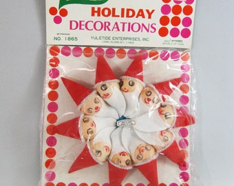 Spun Cotton Santa Heads, Mid Century Christmas Decorations in Package
