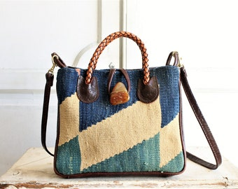 indigo kilim carpet bag woven crossbody