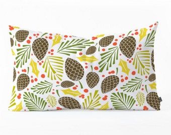 Winter Woodlands Oblong Pillow // Christmas Home Decor  // Lumbar Pillow // Pinecones // Holly // Christmas Pillow // Throw Pillow