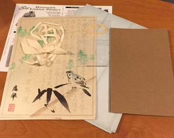 Great Handmade Journal Kit! Asian Bluebird! - Most Supplies & Instructions! - Free US Shipping
