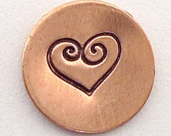 Metal Steel Stamps Double SWIRL HEART 5mm Design Stamp Jewelry Stamping - The Urban Beader