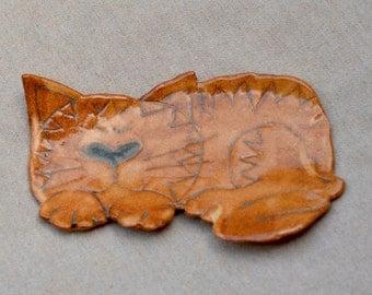 Cat Ceramic Spoon Rest - Jewelry Tray - Soap Dish. KITTY Stoneware Dish. Handmade Ceramics. Hand Built Pottery.