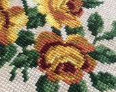 Large Scale Vintage Needlepoint Rose Canvas:  Anthro Style Pillow Top, R
