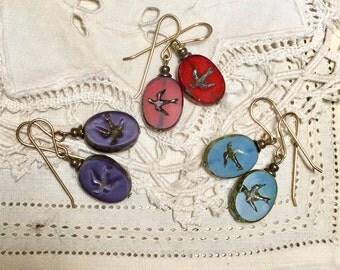 Czech glass earrings, glass window earrings, glass earrings, bird earrings, swallow earrings, turquoise earrings, purple earrings, red drops