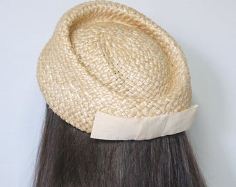 Straw Pillbox Hat 1960's Vintage Summer Hat