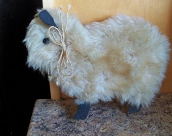 eighties home made  real sheep fur  country decor wall hanging
