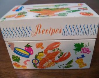 vintage metal recipes box