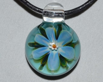 Boro Glass Pendants - Hand Blown Lampwork Jewelry - Glass Flower Necklace