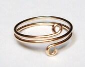 Solid Gold Ring   Solid Gold Toe Ring   14K Solid Gold Spiral Ring