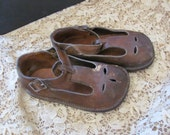 Antique Leather Infant Child Shoes Boots Brown Leather Buckle