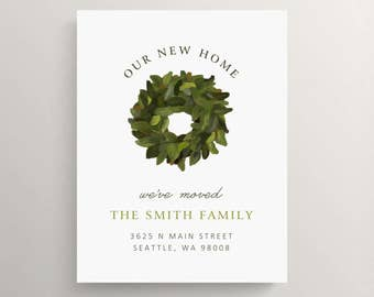 magnolia wreath moving announcement set  // new home // house warming party // customizable // moving card // house // floral