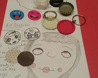 Diy, bottlecap jewelry kit,necklace, keychain, fun,party favors