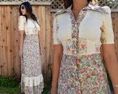 Vintage 70s Cream FLORAL Hippie BOHO FOLK Maxi Dress Xs