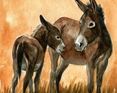 New Mom Brown Donkey and Momma LLMartin Original Nursery Watercolor Child Painting  Baby Country  Burro