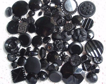 70 BLACK Glass Vintage Buttons Crafts Supplies Sewing Various Sizes Victorian to 1950s Lot 1 Vintage Clothing Steampunk
