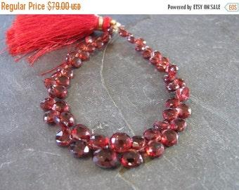 HUGE SALE Garnet briolettes, faceted heart briolettes, full 7 inch strand, 4-7mm (w20)