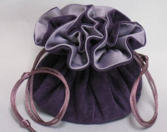 Jewelry Tote---Eight Pocket Organizer Pouch--Purple Soft Suedecloth---Medium Size