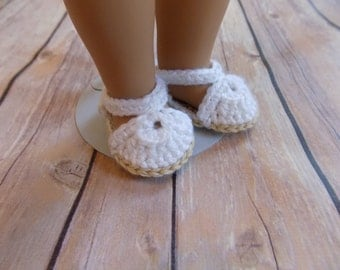White Doll Sandals, 18 Inch Doll Shoes, Knit Doll Sandals