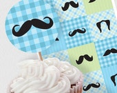 baby boy baby shower decorations mustache moustache mo - printable download - party circles cupcake toppers favour tags decor, blue & green