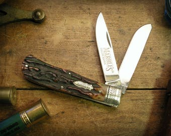 Engraved Custom Folding Hunting Trapper Knife Personalized Gift for Dad, Stepdad, Stepfather, Hunter