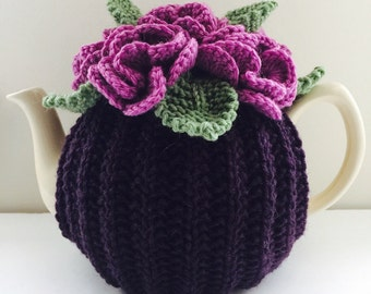 Black Cherry - Floral Tea Cosy - size Medium - fits 4-6 cup teapots